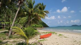Red canoe on the beautiful tropical beach. With palm trees stock footage
