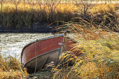 A red canoe docked in tall grass Stock Image