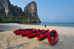 Red Canoe and Railay bay beach at krabi Royalty Free Stock Images