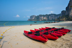 Red Canoe and Railay bay beach at krabi. West Railay bay beach is the most famous beach at krabi thailand Royalty Free Stock Photo