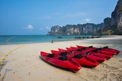 Red Canoe and Railay bay beach at krabi Royalty Free Stock Photo