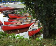 Red Canoes Royalty Free Stock Photography