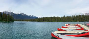 Panoramic view of red canoes on the clean blue lake. Beauvert lake Jasper National Park, Alberta, Canada royalty free stock photo