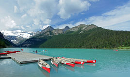 Red Canoes on Lake Louise, Canada Royalty Free Stock Photography