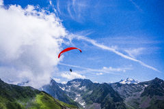 Red canopy para glide. Pic du Midi de Bigorre red canopy paraglide Royalty Free Stock Photos