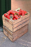 Red cans Stock Images