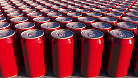 Red cans with no logo at sunset. Soft drinks or beer for party. Recycling packaging. 3D rendering royalty free stock photos