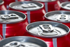 Red Cans of soft drink Stock Image