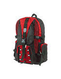 Red canvas backpack Stock Photos