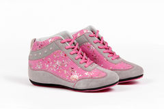 Red canvas shoes Stock Images
