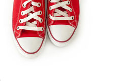 Red canvas shoes Stock Photography