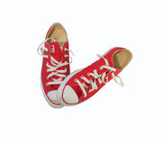 Red canvas shoes with white background Royalty Free Stock Photos