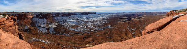 Red canyoin in Arizona, USA. Winter canyoin in Arizona, USA with show in far Stock Image