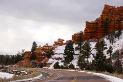 Red Canyon Dixie National Forest Panguitch Utah. Rock formations of Red Canyon in winter Utah Stock Photography