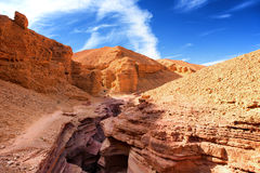 The Red Canyon geological attraction in the Eilat Mountains, Isr Royalty Free Stock Image