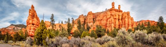 Red Canyon Panorama. Red Canyon is a shallow valley near Bryce Canyon, surrounded by much exposed, orange red limestone, and also part of Dixie National Forest Royalty Free Stock Photos