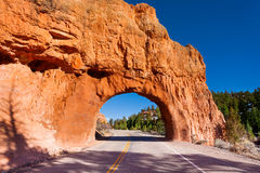 Red canyon road arch tunnel Utah, USA Royalty Free Stock Photos