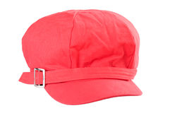 Red cap. Red hat ladies. Isolated. White background Royalty Free Stock Photography
