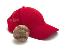 Red cap and baseball Stock Photography
