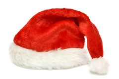 Red cap of Santa on a white background Royalty Free Stock Photos