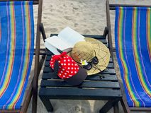 Red cap with white polka dots, straw hat, flowers, book and sung. Red cap with white polka dots decorated with red bow and black fabric , straw hat with black stock photo