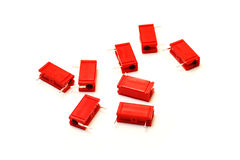 Red capacitors Royalty Free Stock Image