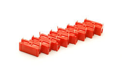 Red capacitors isolated Royalty Free Stock Photo