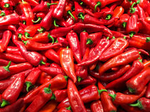 Red Capsicum In Vegetable Market Display Stock Photos