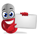 Red Capsule holding Blank Board Stock Image