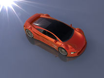 Red car. Render red car and light flash behind royalty free illustration