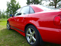 RED CAR. Red Audi car outdoor in summer Royalty Free Stock Photo