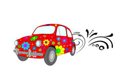 Red car. Vector picture of red hippie car with floral ornament stock illustration