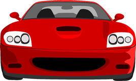 RED CAR. Italian sports car front view, graphics royalty free illustration