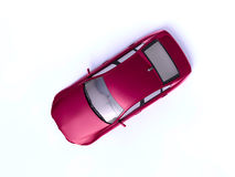 Red car. Red sport car top view Stock Photo