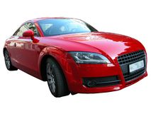 Red car. Red Audi, isolated red car on a white background. Powerful German coupe Royalty Free Stock Image