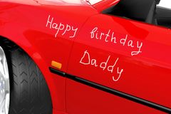 Red car. Happy birthday daddy congratulation on the red car Stock Photos