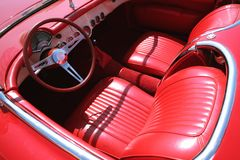 Red Car 60-70's royalty free stock photo