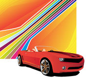 Red car. On the abstract background Royalty Free Stock Photo