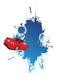 Red car. And blue splash Royalty Free Stock Images