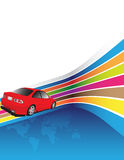 Red car. On the colorful background Royalty Free Stock Photography