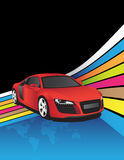 Red car. On the abstract background Royalty Free Stock Images