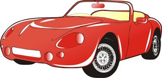 Red car. One red automobile graphic illustration Stock Photo