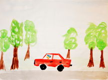 Red car. Children style draft of red car Royalty Free Stock Images