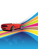 Red car. On the colorful background Stock Photos