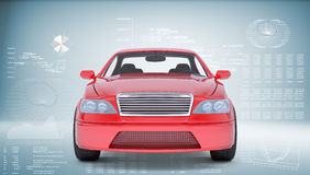 Red car. On abstract blue background, front view Royalty Free Stock Photos