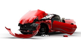 Red car accident. Accident of a red car isolated on a white background Stock Image