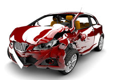 Red car accident. A red car in an accident isolated on a white background Stock Photos