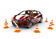 Red car accident Stock Photography