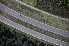 Red Car aerial Royalty Free Stock Photo