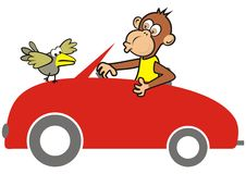 Red car and animal. S, monkey and bird, funny vector icon Stock Photo